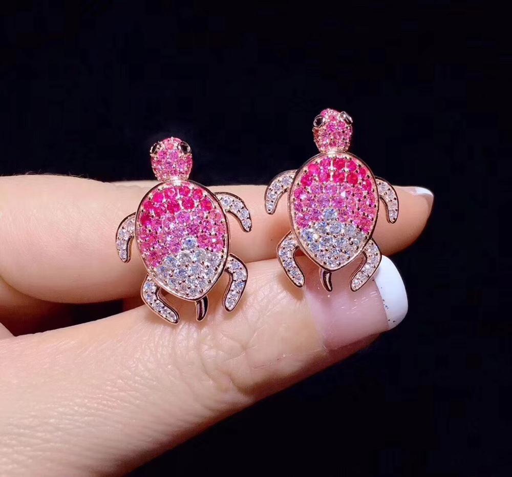 Mignon rose couleur tortue stud boucle d'oreille 925 en argent sterling avec zircon cubique 24*18MM bijoux de mode pour femmes et filles - 4