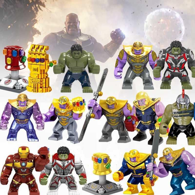 Legoing תאנסו סטי ספיידרמן Hulk Thor אינסופי כפפות קפטן אמריקה בלוקים מארוול גיבורי איור צעצועי תחביבים לילדים מתנה