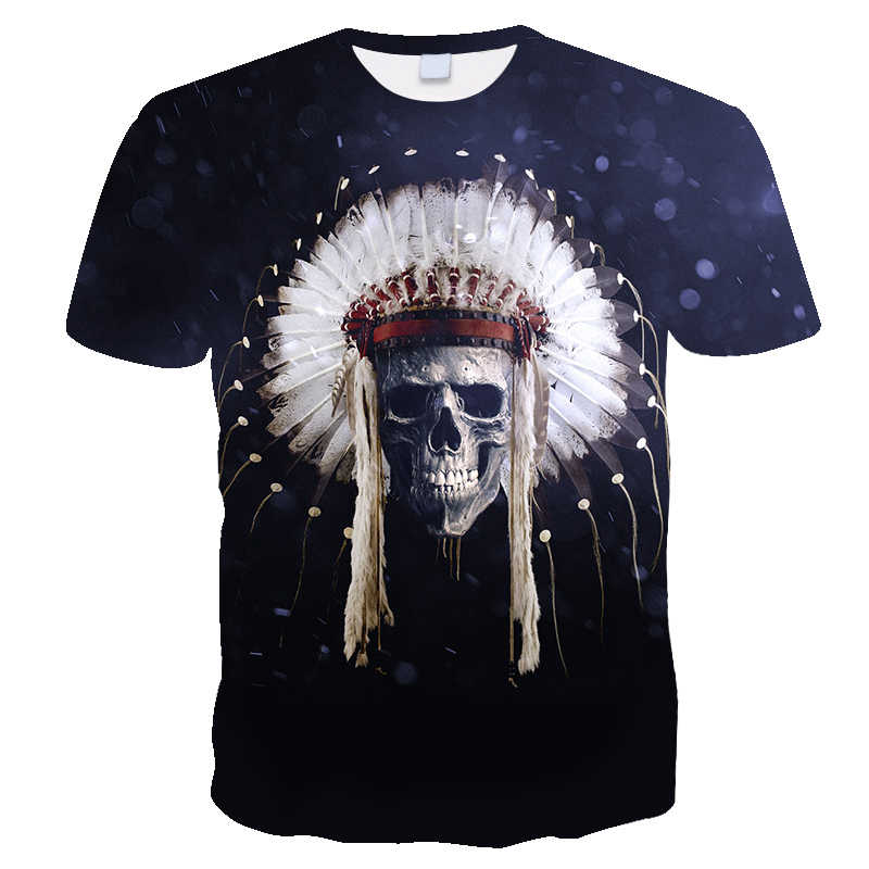 Schedel Inheemse Aion Amerikaanse Chief Indian Extra Grote 5XL Nieuwe Mode T-shirt Wing top tee Nationale vlag Retro Print Korte mouw