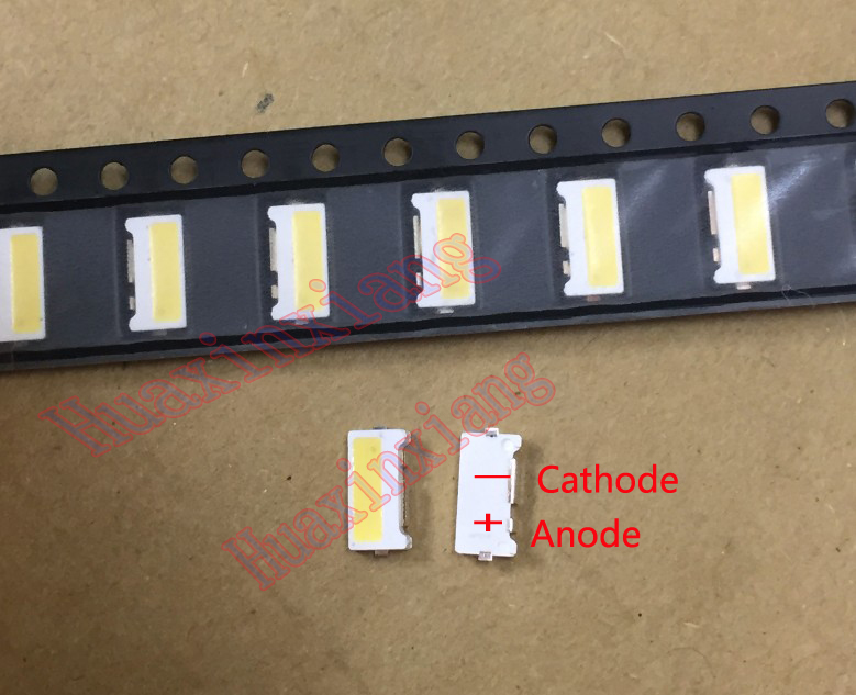 100PCS/Lot Edge SMD LED 7032 6V 1W 160mA  Cool White High Power For TV Backlight