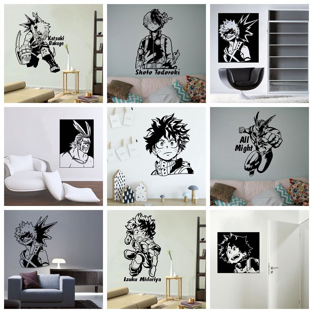 Funny My Hero Academia Pvc Wall Decals Home Decor For Kids Room Living Room Home Decor Wall Art MURAL Drop Shipping