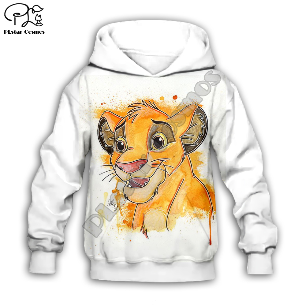 Simba The Lion King Cartoon Hoodie Kids Baby 3D Print Zipper Hoodies Sweatshirts Boy Girl Long Sleeve Top Cartoon Style-5