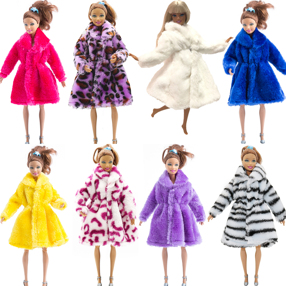 NK Multicolor 1 X Long Sleeve Soft Fur Coat Tops Dress Winter Warm Casual Wear Accessories Clothes For Barbie Doll Kids Toy JJ