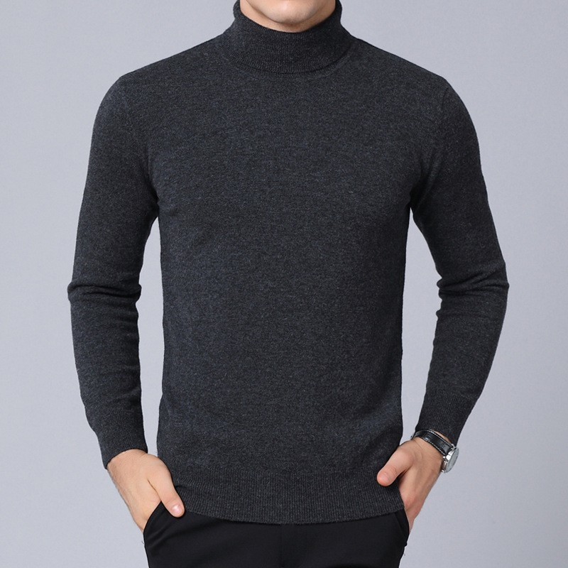 Men Turtleneck Luxury 100% Wool Sweater 2020 Knitted Casual Warm Long Sleeve Pullover Autumn Winter Solid Slim High Neck Sweater