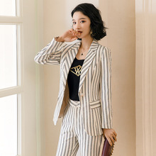2020 new professional pants suit feminine High quality striped women's