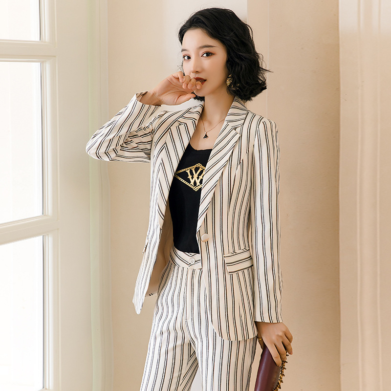 2020 new professional pants suit feminine High quality striped women's blazer Elegant career interview clothing female overalls