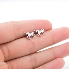 Hfarich Delicate Stainless Steel Holy Unicorn Studs Earrings for Girls Graduation Gift Kolczyki Love