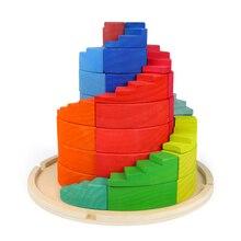 Wood-Toys Rainbow-Blocks Jenga Nordic Educational-Toys Color-Geometry-Blocks Montessori