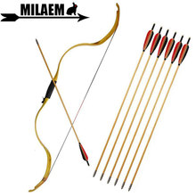 цена на 20lbs Archery Traditional Recurve Bow And Arrow Set Wooden Arrow Target Removable Bow Riser Longbow Hunting Shooting Accessories