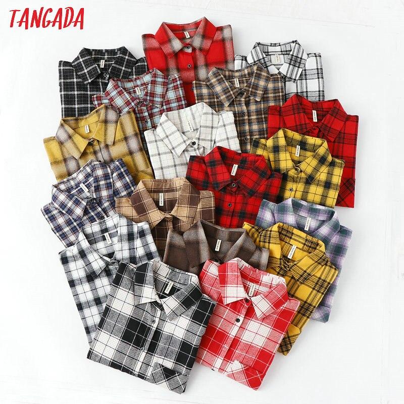 Tangada модная женская шикарная негабаритная клетчатая блузка с длинным рукавом Женские повседневные рубашки с принтом стильные хлопковые то...
