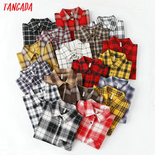 Tangada fashion women chic oversized plaid blouse long sleeve female casual print shirts