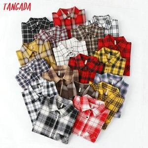 Tangada fashion women chic oversized plaid blouse long sleeve female casual print shirts stylish cotton tops blusas XQ01(China)