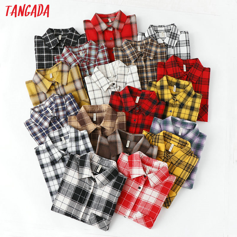 Tangada fashion women chic oversized plaid   blouse   long sleeve female casual print   shirts   stylish cotton tops blusas XQ01