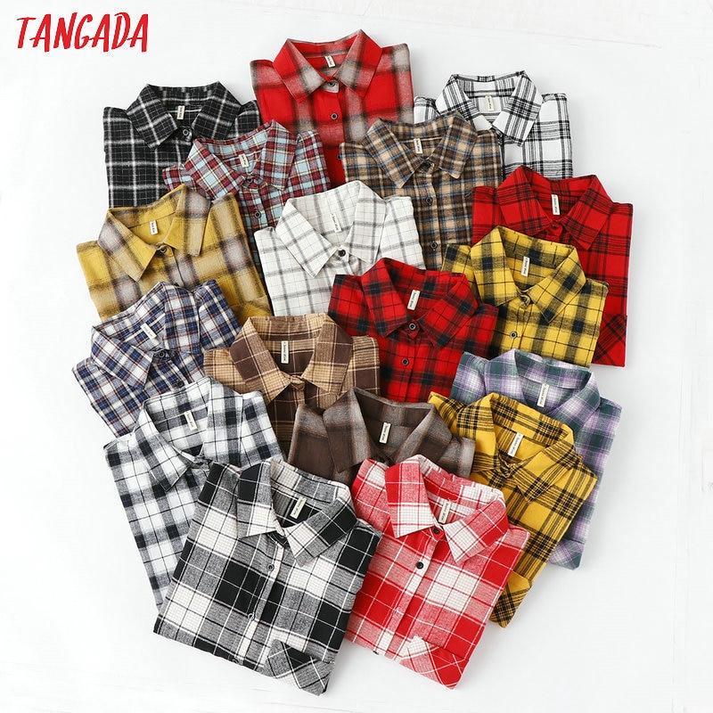 Tangada mode femmes chic surdimensionné plaid blouse à manches longues femme décontracté imprimé chemises élégant couverture en coton blusas XQ01