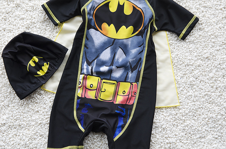 New Style KID'S Swimwear Swimsuit For Boys Cartoon Batman BOY'S One-piece Boxer Bathing Suit With Mantle Send Swim Cap