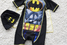 New Style KID'S Swimwear Swimsuit for Boys Cartoon Batman BOY'S One-piece Boxer Bathing Suit with Mantle Send Swim Cap(China)