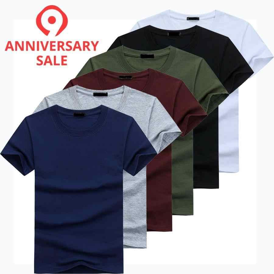 2019 6 Pcs/lot Kualitas Tinggi Fashion Pria Kasual Lengan Pendek T-shirt Pria Padat Santai Kapas T-shirt Musim Panas pakaian