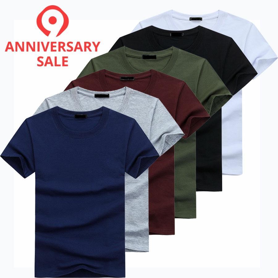 2019 6pcs/lot High Quality Fashion Men's T-Shirts Casual Short Sleeve T-shirt Mens Solid Casual Cotton Tee Shirt Summer Clothing