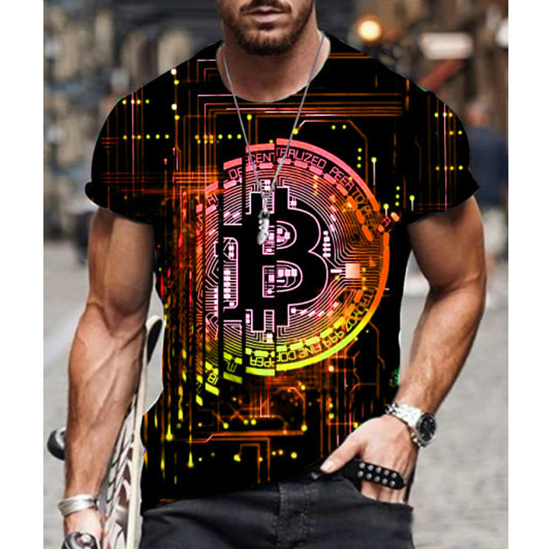 2021 Hot Loose Short Sleeve sports mens T-shirt big round neck bitcoin 3D printing leisure and breathable fitness men wear 5
