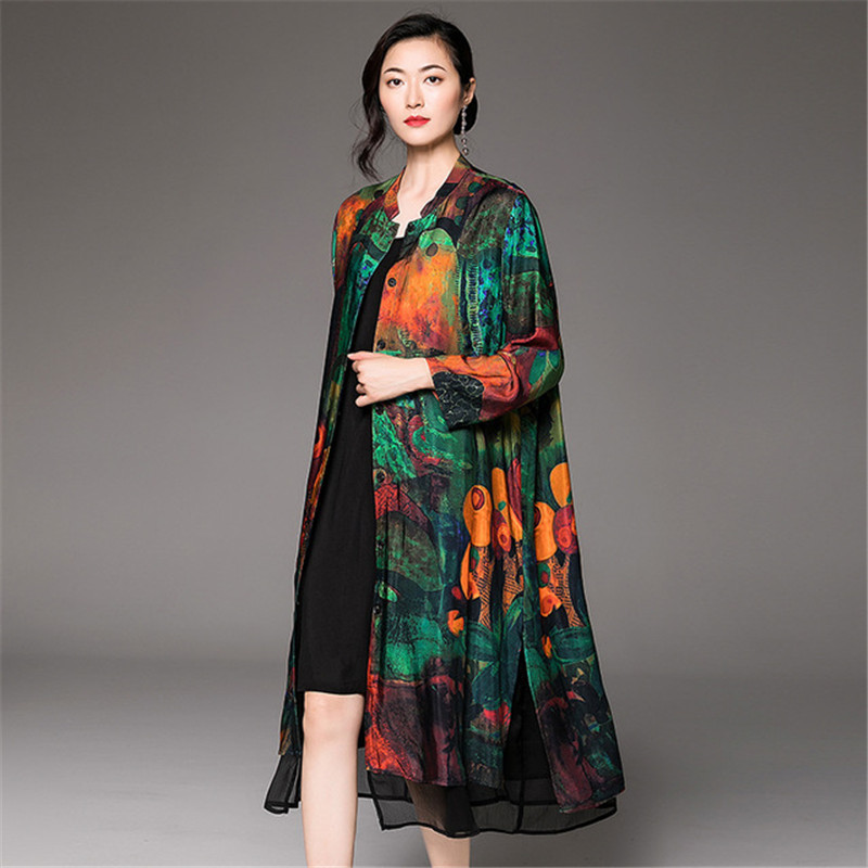 2019 New Spring National Style Women's Printing Retro Loose Long   Trench   Coats Elegant Autumn Coat Elegant Tops V947