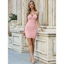 Pink Shirring Dress Spaghetti Strap Sexy & Club Mini for Woman Boho Bandage Clothes