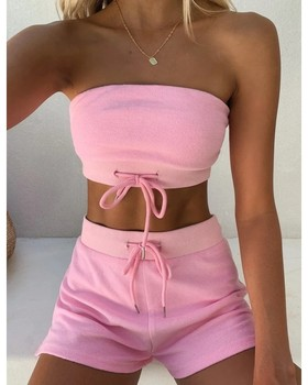 Pink Two Piece Set Strapless Top and Short 2 Yellow Green Sexy Outfit for Women Outfits