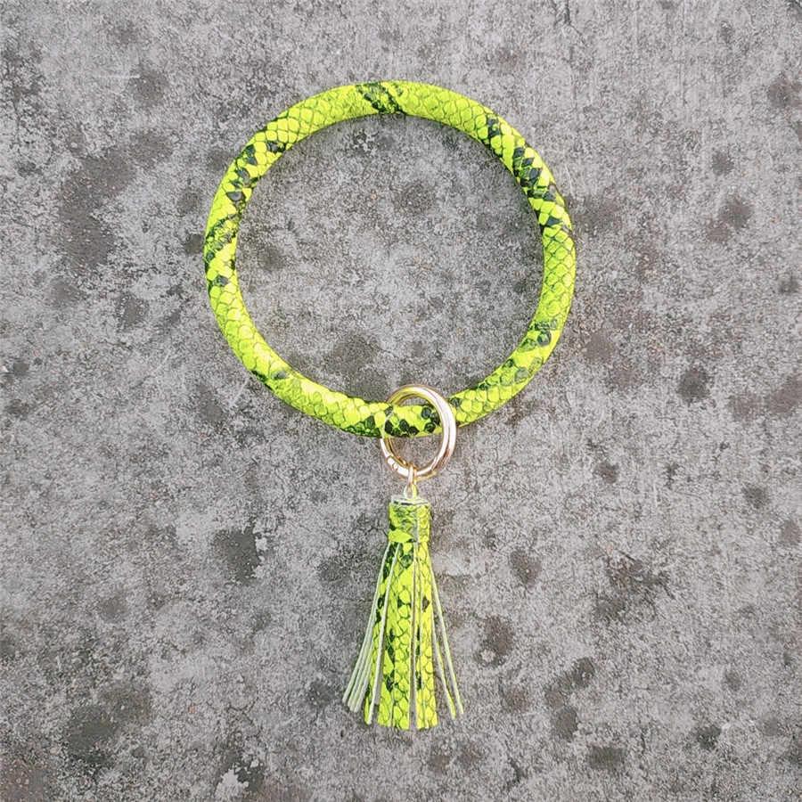 PU Leder Armband Keychain für Frauen Mode Leopard Armband Keychain quaste Armreif Keychain Handgelenk Zubehör