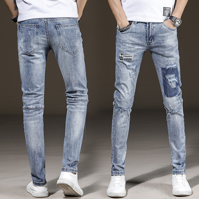 2019 New Style Men's Popular Brand Printed With Holes Pencil Pants Cowboy Trousers Youth Light Color Slim Fit Jeans