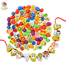 Wooden Toys Baby DIY Toy Cartoon Fruit Animal Stringing Threading Wooden beads Toy Monterssori Educational for Kids Gift