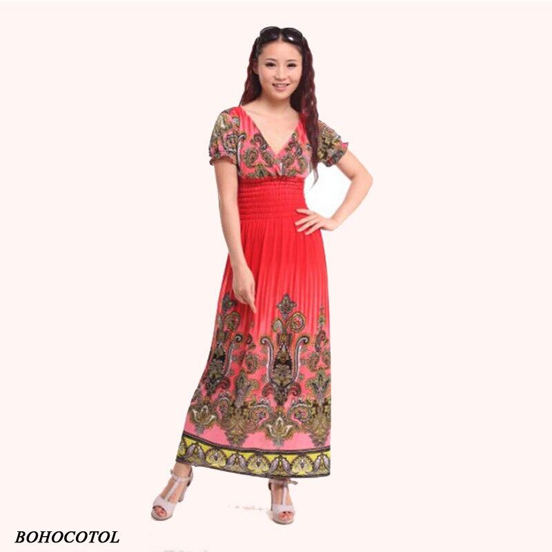 Vestido de vacaciones de estilo bohemio de manga corta, vestido adelgazante a la moda para playa, estampado, Indio Gitano, tailandés, 2020