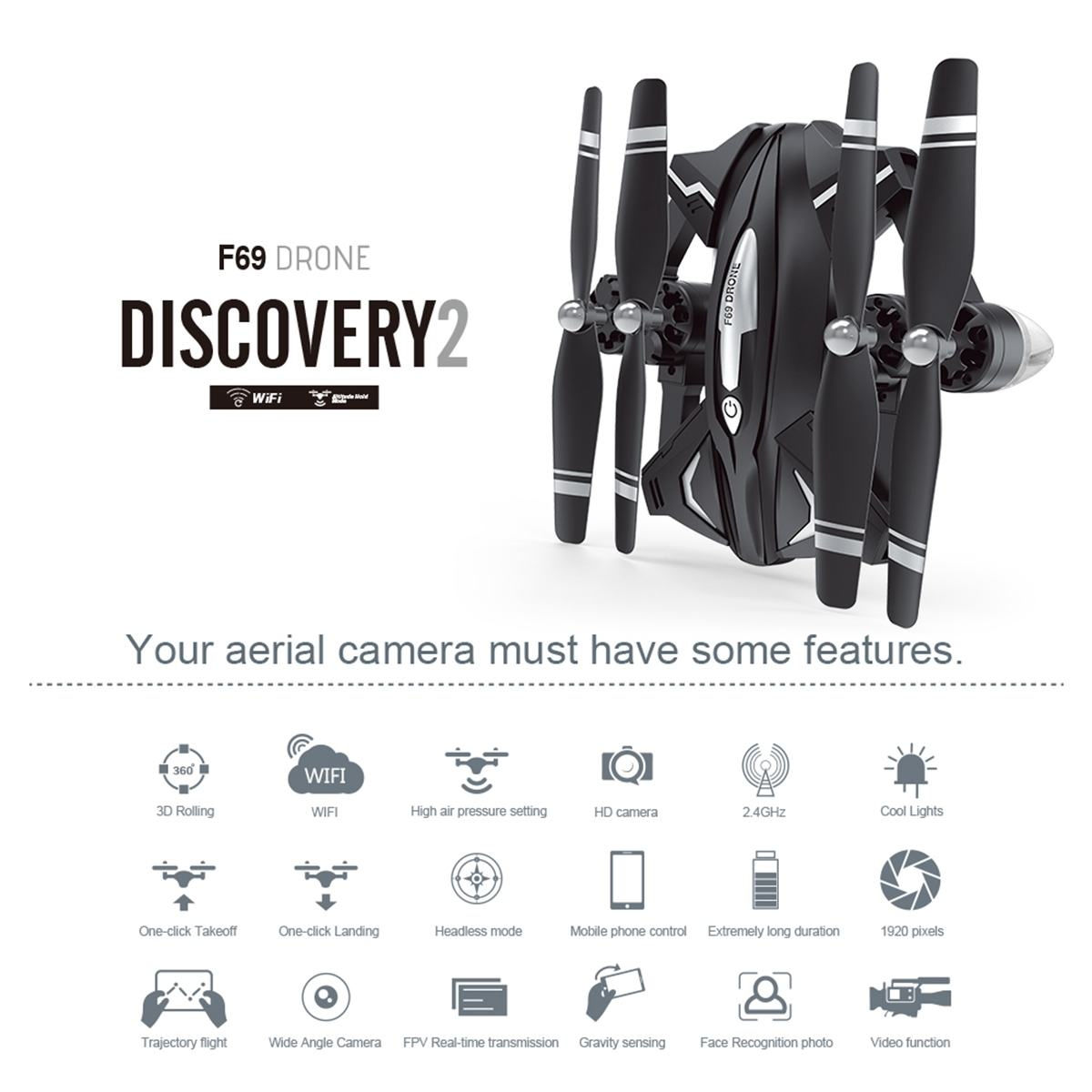 Toys Helicopters Camera Rc-Drone Aerial-Video Aircraft FPV Wifi Hot-Sale Kid F69 HD 1080P