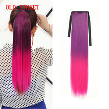 Ribbon  Synthetic Hair Pony Tail Hair Extension Long Straight 24inch 60cm 100g Ponytail With Hairpins For Girls