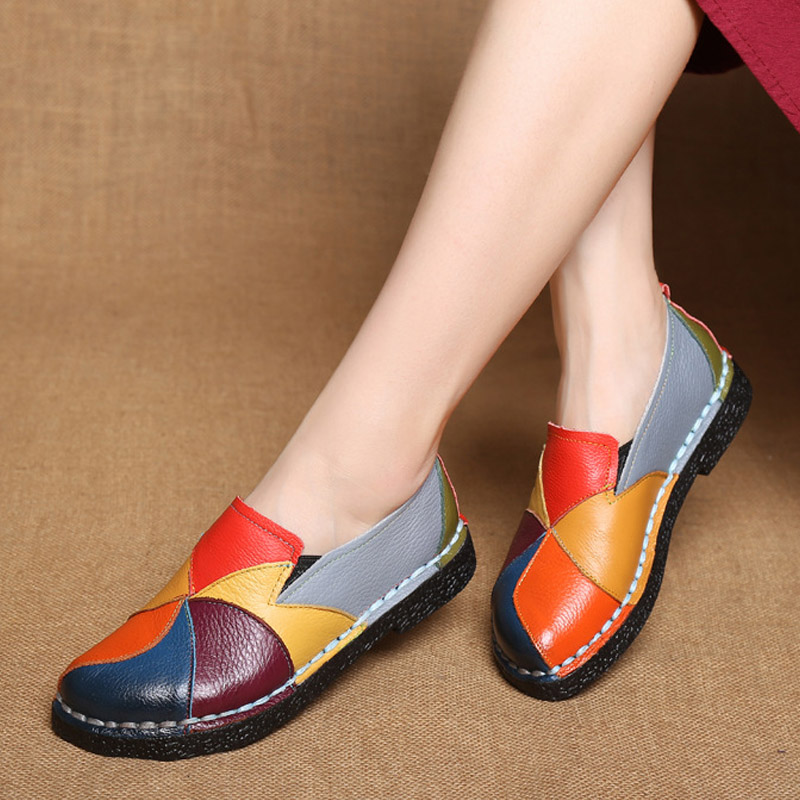 Designer Women Genuine Leather Loafers Mixed Colors Ladies Ballet Flats Shoes Female Spring Moccasins Casual Ballerina Shoes