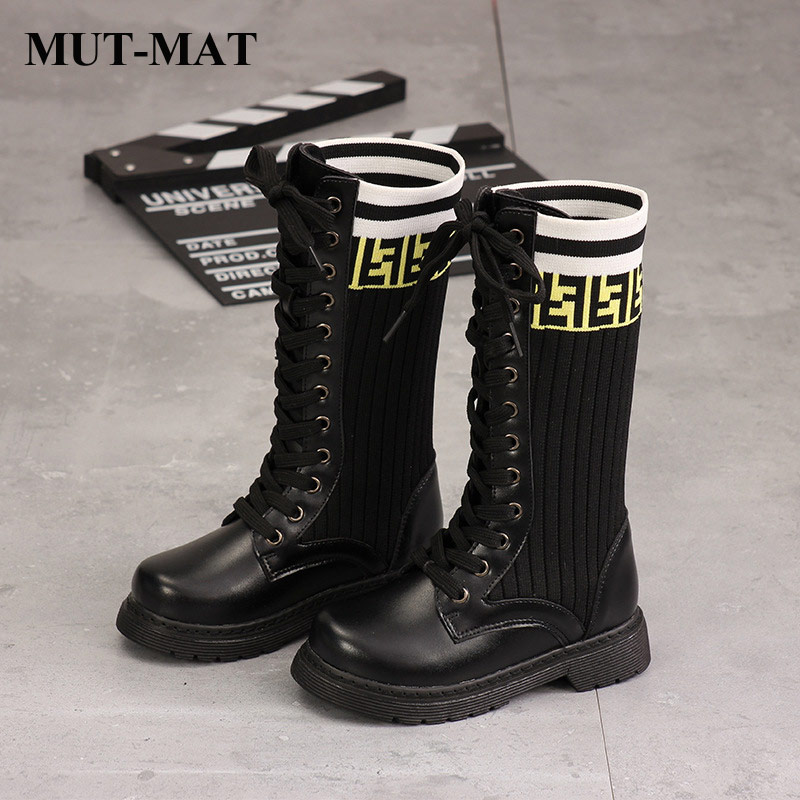 kids shoes Martin Boots Girls Cool Fashion Lace letter Knee high boots Stretch Socks Wear resistant Warming Short Plush boots on AliExpress