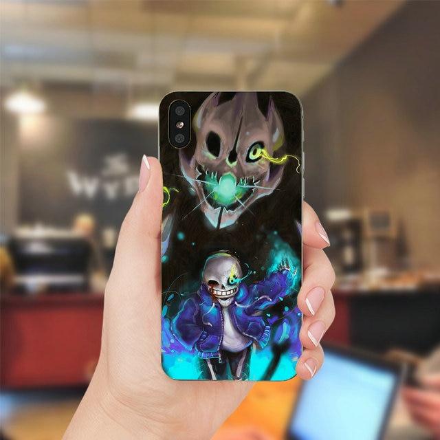 Sac souple en Silicone TUP pour téléphone portable étuis pour iphone X XR XS Max 10 7 6 6s 8 Plus 5 5S SE 5C 4 4S couverture Undertale Sans coque