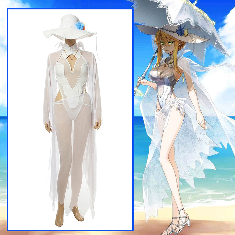 Game Fate stay night FGO Cosplay Costumes Saber Arutoria Pendoragon Cosplay Costume Arturia Pendragon Swimsuit bikini Clothes