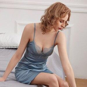 Deep-v cross-border verão sexy feminino roupa interior renda de seda sling nightdress sleepwear lingerie das mulheres vestido de noite de seda gelo