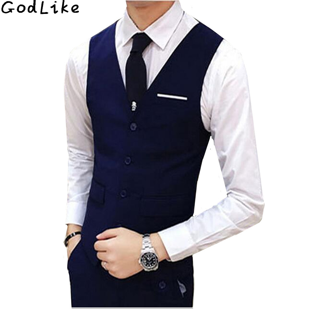 New 2019 High Quality Black Blue Groomsmens Vest Wedding Prom Party Waistcoat Mens Vests Casual Wear Formal Business Male Vest