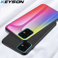 KEYSION Carbon fiber Glass Case for Samsung Galaxy S20 Ultra S10+ Plus Note 10 Phone Cover for Samsung A51 A71 A50 A70 A20 M30S