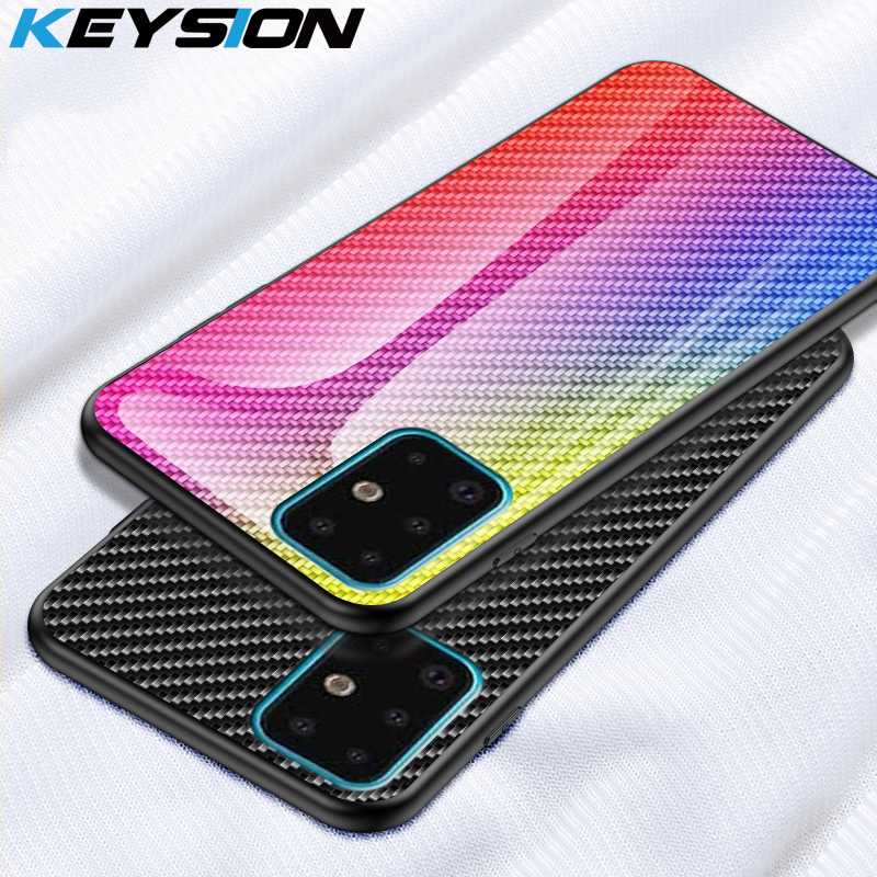 KEYSION Carbon fiber <font><b>Glass</b></font> <font><b>Case</b></font> for <font><b>Samsung</b></font> Galaxy S20 Ultra S10+ Plus Note 10 Phone Cover for <font><b>Samsung</b></font> A51 A71 A50 A70 A20 <font><b>M30S</b></font> image