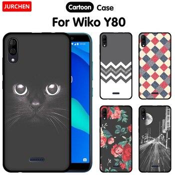 Перейти на Алиэкспресс и купить JURCHEN чехол для телефона Wiko Y80 чехол Y 80 мультяшный принт черный матовый Мягкий ТПУ силиконовый чехол для Wiko Y80 чехол 5,99 дюйма