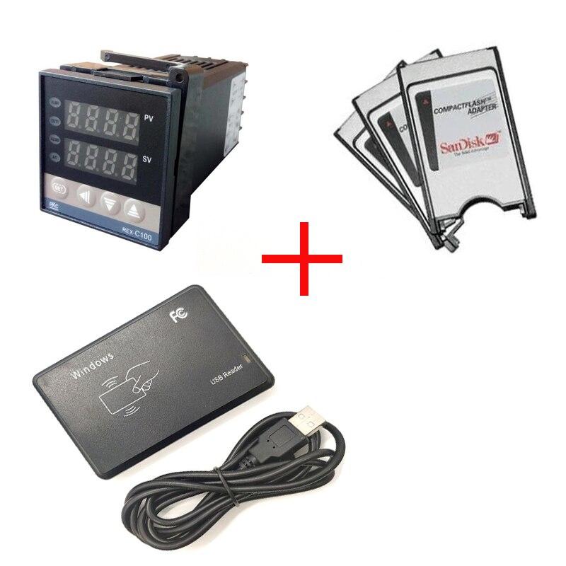 100 pièces 125KHZ RFID 8 chiffres Lecteurs + 100 pièces Régulateur De Température Numérique (1m thermocouple) + 100 pièces PCMCIA Adaptateur CF