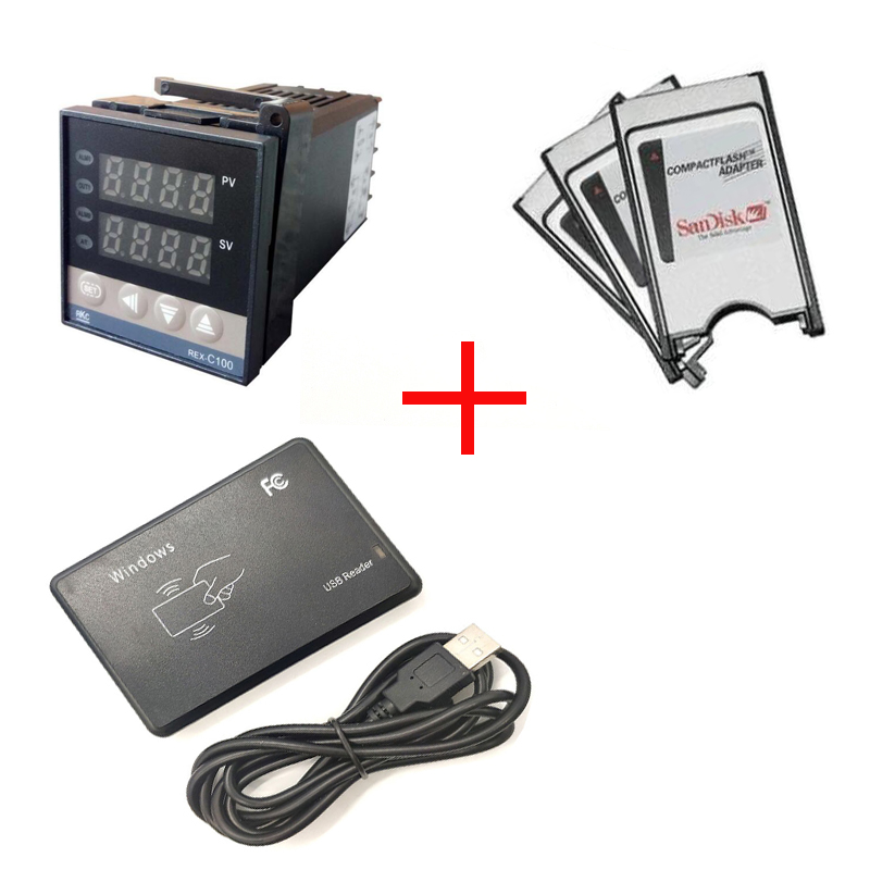 100pcs 125KHZ RFID di 8 cifre Lettori + 100pcs Digital Regolatore di Temperatura (1m termocoppia) + 100pcs PCMCIA CF Adapter