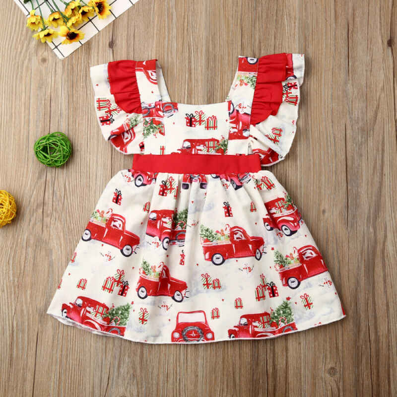 US Christmas Clothes Toddler Infant Baby Girl Clothes Xmas Taxi Bowknot Party Tutu Dress 0-3T