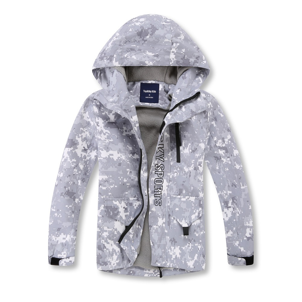 Gray Camouflage Warm Fleece Child Coat Waterproof Boys Jackets Kids Outfits Children Outerwear For Autumn Early Winter 110 150cmJackets & Coats   -