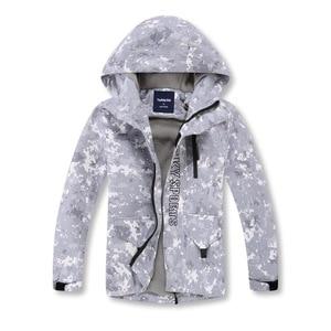Image 1 - Gri kamuflaj sıcak polar çocuk ceket su geçirmez erkek ceketler çocuklar kıyafetler çocuk giyim sonbahar erken kış 110 150cm