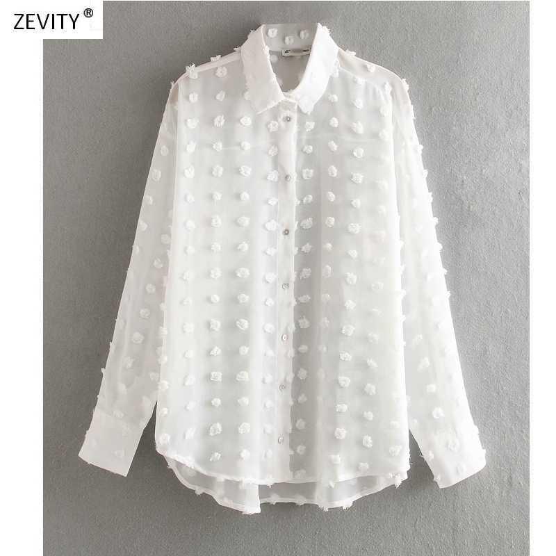 חדש נשים האופנה דוט תפרים מקרית שיפון חולצה חולצה נשים ארוך שרוול שיק blusas פרספקטיבה לבן תחתונית חולצות LS3725