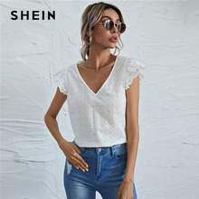 SHEIN White V-neck Ruffle Armhole Schiffy Top Blouse Women Summer Butterfly Sleeve Solid Casual Tops and Blouses
