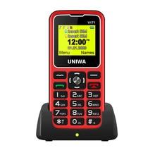 Для пожилых мужчин 2G функция телефон UNIWA V171 GMS мобильный телефон +беспроводной FM 1000 мАч мобильный телефон +SOS 1,77% 22 экран бесплатно зарядка док-станция