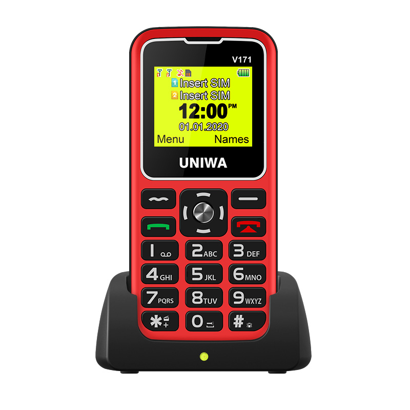"For Elderly Man 2G Feature Phone UNIWA V171 GMS Mobile Phone Wireless FM 1000mAh Cellphone SOS 1.77"" Screen Free Charging Dock"